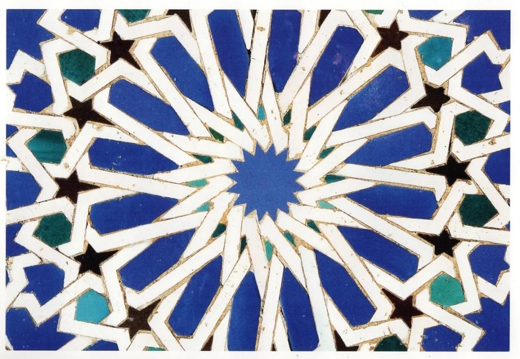 Detail van tegel in de Mudéjar paleis, Sevilla